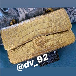 Chanel Crocodile Embossed Gold medium flap